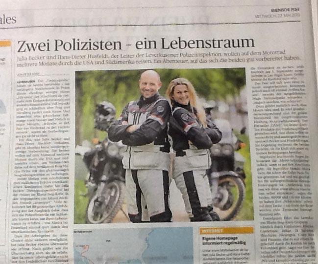 Bericht von Julia und Hans-Dieter über die geplante Motorrad-Reise.